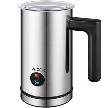 Aicok Montalatte Automatico, Elettrico, Acciaio Inossidabile, 300 ml, Schiuma Veloce Calda e Fredda per Caffè, Latte e Cappuccino – Miglior Prezzo