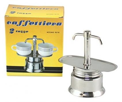 Bialetti Espresso Caffettiera con Due Becchi Tazze 2, Acciaio Inossidabile, Grigio – Miglior Prezzo