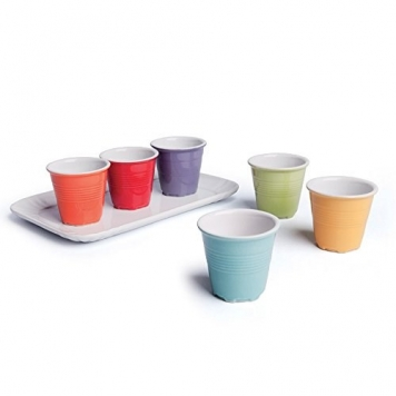 Excelsa Tazze da Caffè con Vassoio, Ceramica, Multicolore, 6 Pezzi – Miglior Prezzo