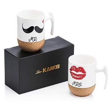 Love-KANKEI Mr and Mrs Tazze di ceramica con base in sughero, Set di 2 / 10.5 oz – Miglior Prezzo