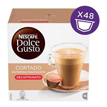 NESCAFÉ DOLCE GUSTO CORTADO ESPRESSO MACCHIATO DECAFFEINATO Caffè macchiato 3 confezioni da 16 capsule (48 capsule) – Miglior Prezzo