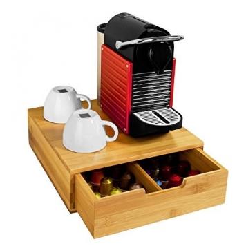 SoBuy® Portacapsule caffé, bustine tè, Anti-scivolo, in Bambù,FRG70-N, IT – Miglior Prezzo